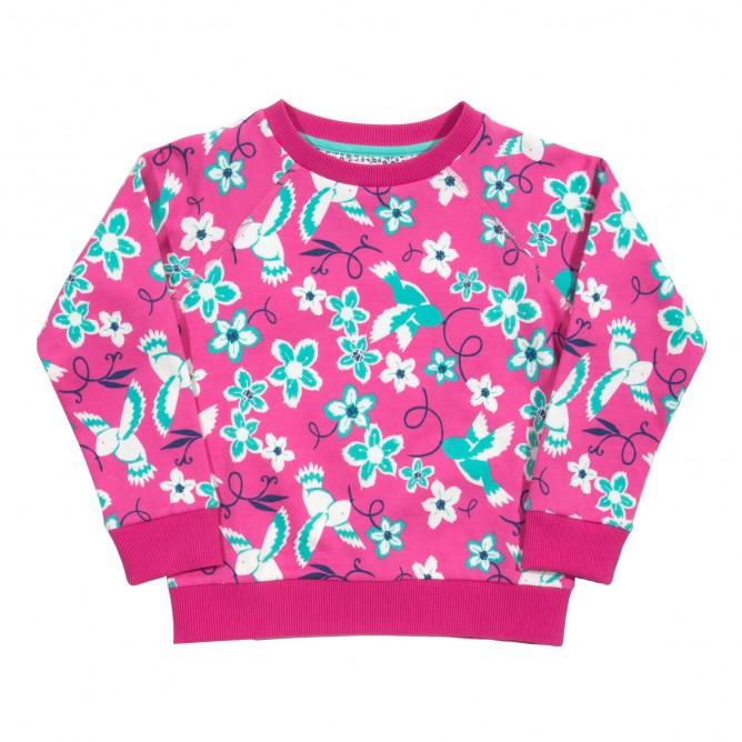 Bluza cu flori si pasari 100% bumbac organic certificat GOTS