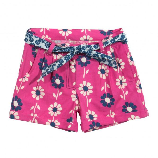 Pantaloni scurti cu flori 100% bumbac organic certificat GOTS