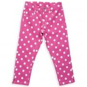 Pantaloni roz cu buline bumbac organic 100% certificat GOTS