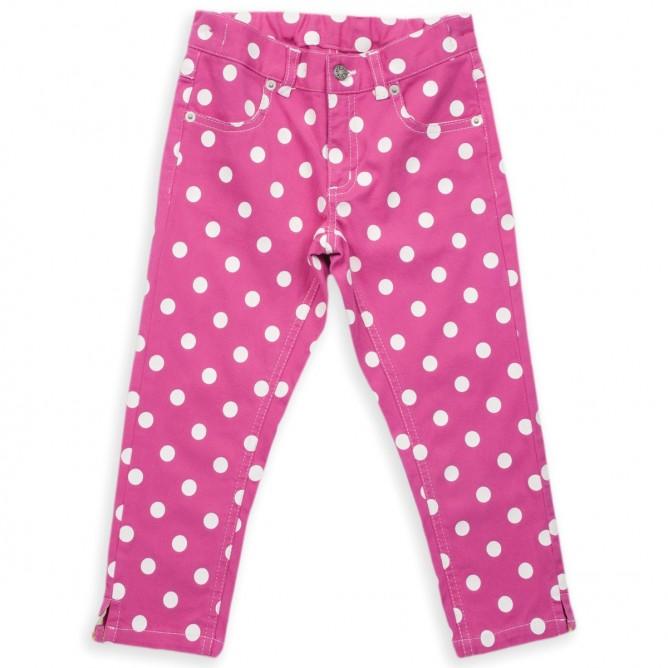 Pantaloni roz cu buline. Bumbac organic 100% certificat GOTS