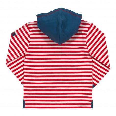 Bluza cu dungi si gluga 100% bumbac organic certificat GOTS