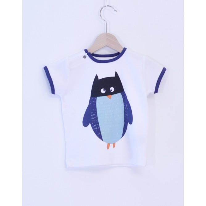 Tricou cu pinguin mascat 100% bumbac organic certificat GOTS FAIR TRADE