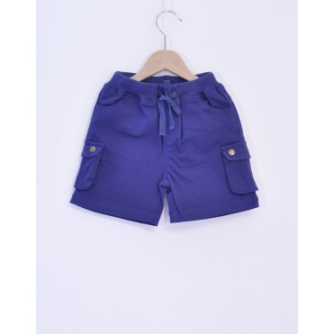 Pantaloni bermuda albastri 100% bumbac organic certificat GOTS FAIR TRADE