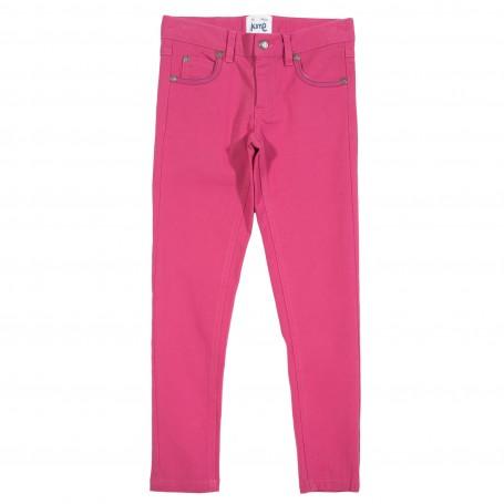 Pantaloni slim fit roz din bumbac organic