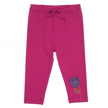 Leggins roz inchis cu floare bumbac organic certificat GOTS