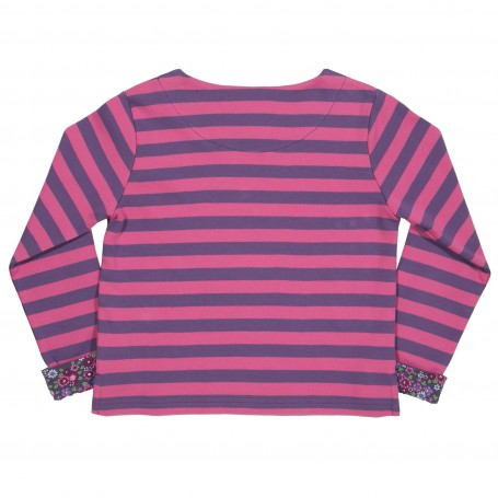 Bluza cu dungi roz si maneci cu flori bumbac organic certificat GOTS