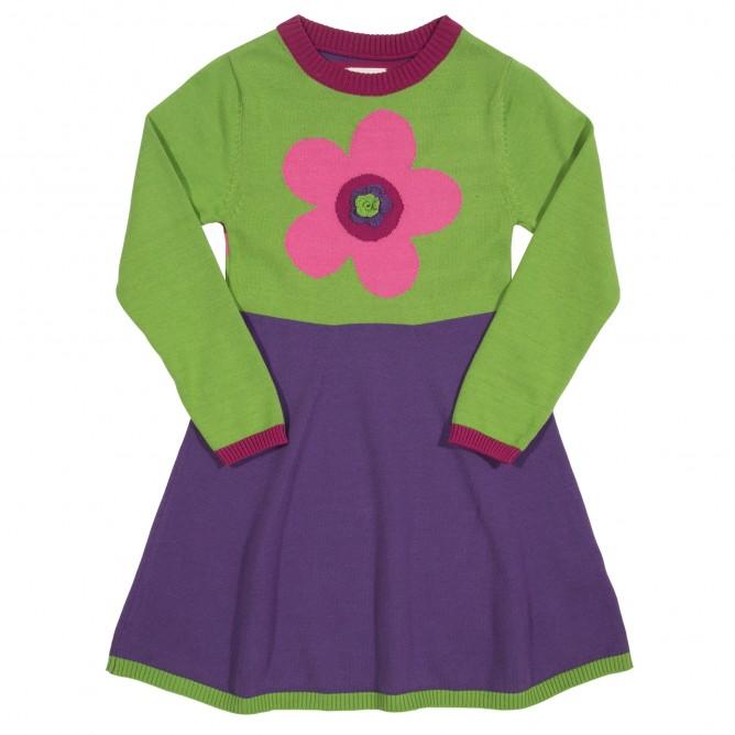 Rochie tricotata cu floare 100% bumbac organic cetificat GOTS