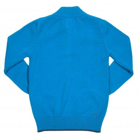 Pulover albastru cu fermoar 100% bumbac organic certificat GOTS