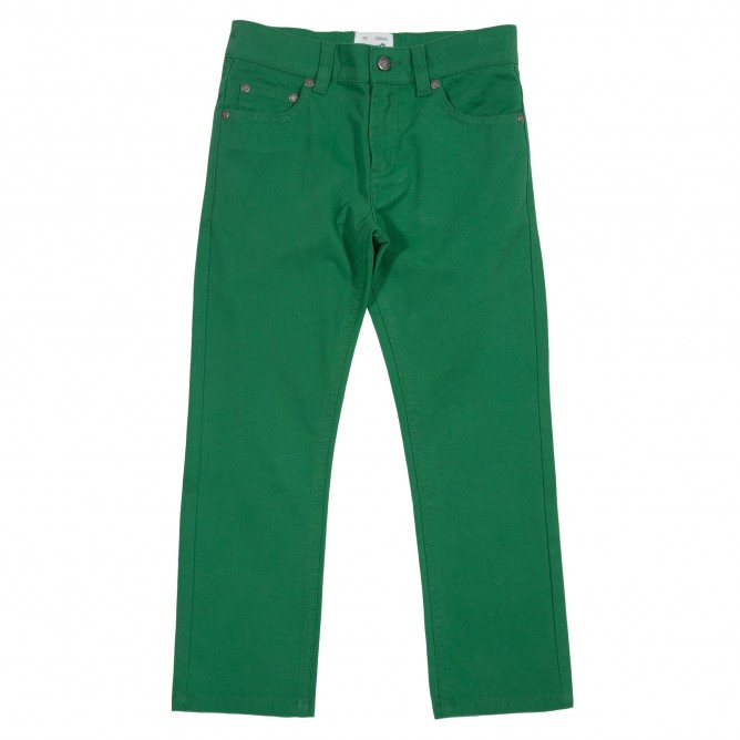 Pantaloni slim fit verzi 100% bumbac organic certificat GOTS