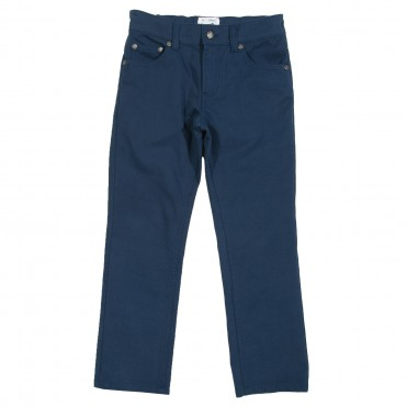 Pantaloni slim fit albastri 100% bumbac organic certificat GOTS