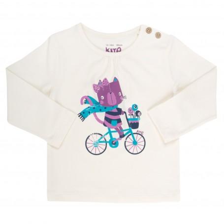 Bluza pisicuta pe bicicleta bumbac organic certificat GOTS